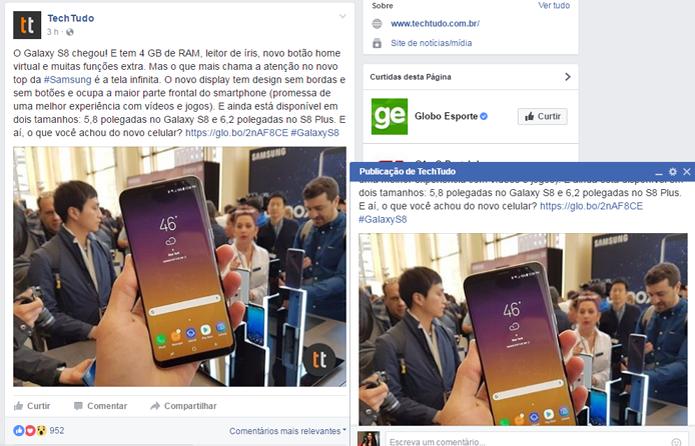 Usuário pode navegar pelo feed do Facebook e acompanhar comentários de postagem (Foto: Reprodução/Gabrielle Lancellotti)