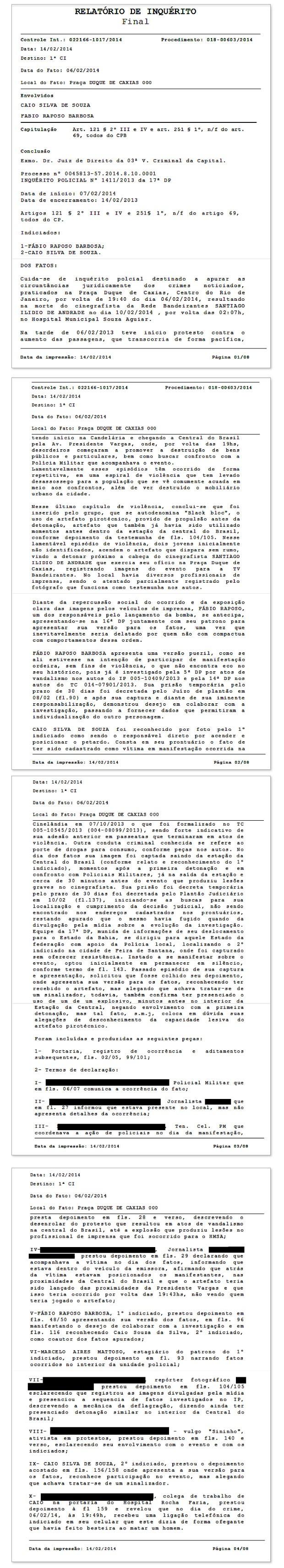 Relatório do inquérito entregue ao MP sobre a morte do cinegrafista Santiago Andrade (Foto: Reprodução / Polícia Civil)