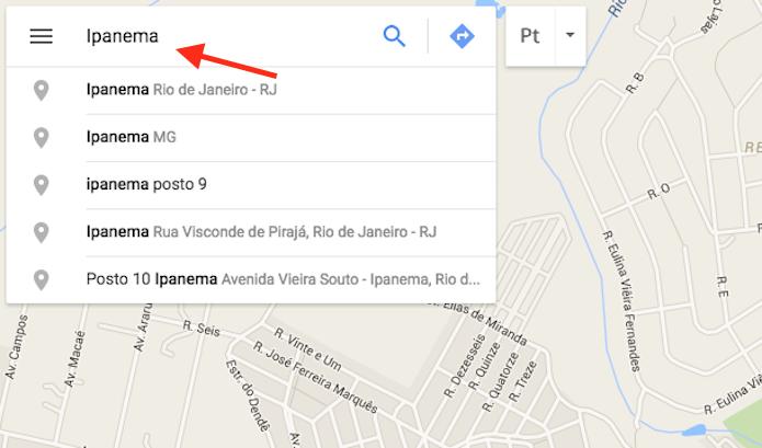 Pesquisando por uma cidade no Google Mapas para verificar preços de hospedagem em hotéis (Foto: Reprodução/Marvin Costa)