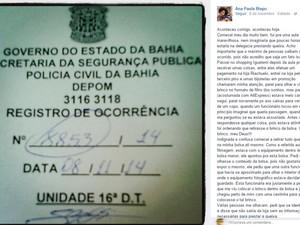 Denúncia de racismo foi postado em página de Ana Paula Bisco no Facebook (Foto: Reprodução/TV Bahia)