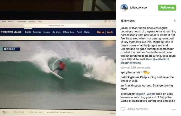 Julian Wilson faz post reclamando de notas em Trestles (Foto: Reprodução)