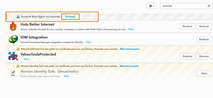 Observe a mensagem de confirmação da exclusão do complemento no Firefox (Foto: Reprodução/Barbara Mannara)