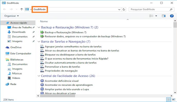 """Veja como ativar o """"Modo Deus"""" e reunir todas as configurações do Windows em um único local (Foto: Reprodução/Helito Bijora)"""