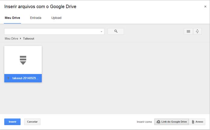 Arquivos do Drive podem ser repassados diretamente pelo Gmail (foto: Reprodução/Gmail)