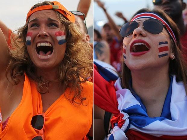 Torcedores da Holanda e da Costa Rica, equipes que fazem um confronto inédito nas Copas (Foto: AP)