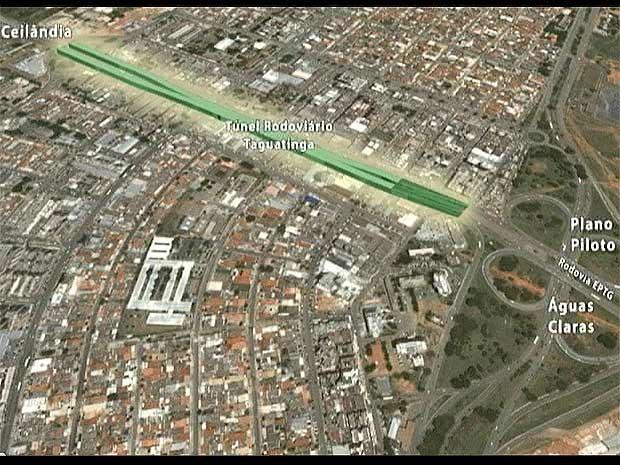 Imagem aérea mostra local onde o túnel ligando a região central de Taguatinga à EPTG será construído, (Foto: Secretaria de Obras/Reprodução)