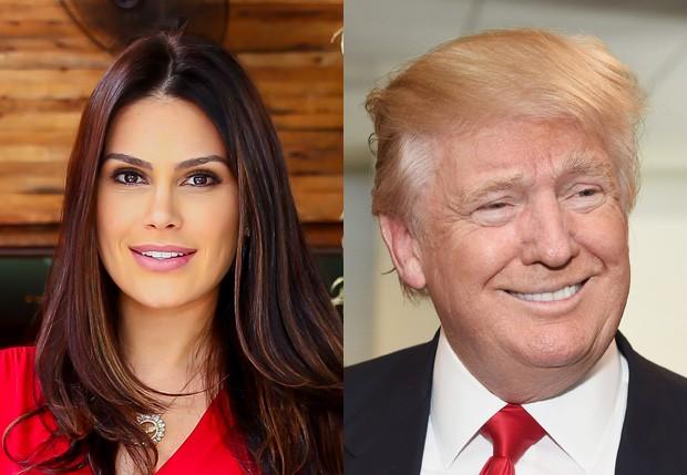 Natália Guimarães e Donald Trump (Foto: Manuela Scarpa/Brazil News e Getty Images)