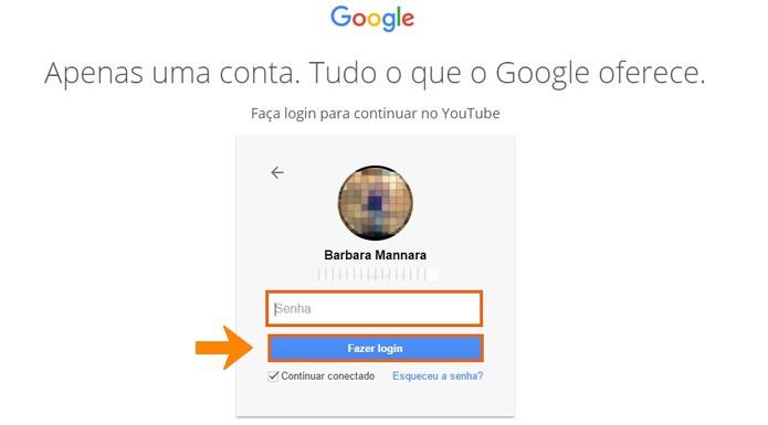 Acesse sua conta Google para fazer login no YouTube (Foto: Reprodução/Barbara Mannara)
