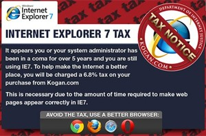 Aviso que a Kogan exibe para os usu&#225;rios que querem usar o Internet Explorer 7 (Foto: Reprodu&#231;&#227;o)