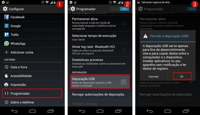 Telas para permitir a depuração USB no Android (Foto: Reprodução/ Raquel Freire)