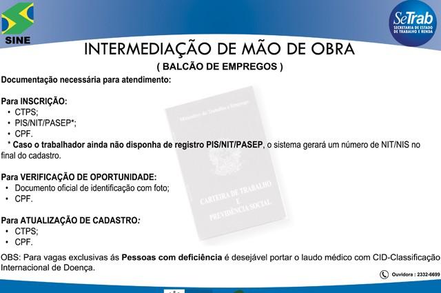 Candidatos a uma vaga no Sine-RJ devem estar munidos de carteira de trabalho, PIS/NIT/Pasep e CPF (Foto: Reprodução / Setrab-RJ)