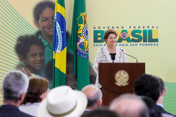 Dilma Rousseff durante o anúncio da ampliação do Brasil Carinhoso (Foto: Roberto Stuckert Filho/PR)