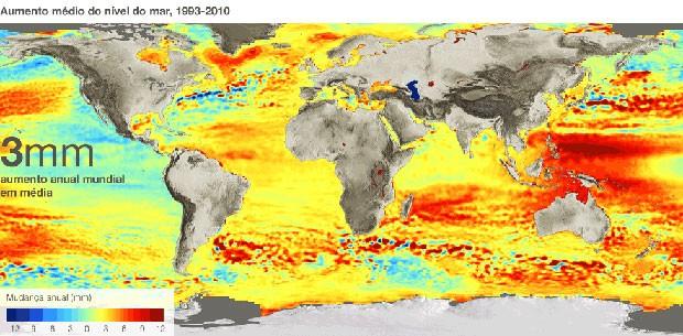 Uma reavaliação de imagens feitas por satélites dos últimos 18 anos forneceu uma visão nova e mais detalhada das mudanças no nível do mar em todo o mundo. (Foto: BBC)