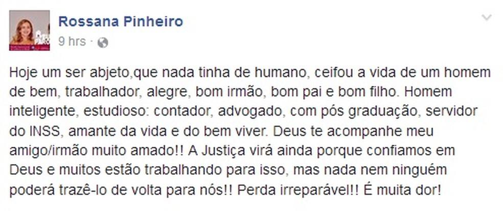 Irmão da delegada aposentada foi morto durante um assalto nesta terça-feira (2) (Foto: Facebook)