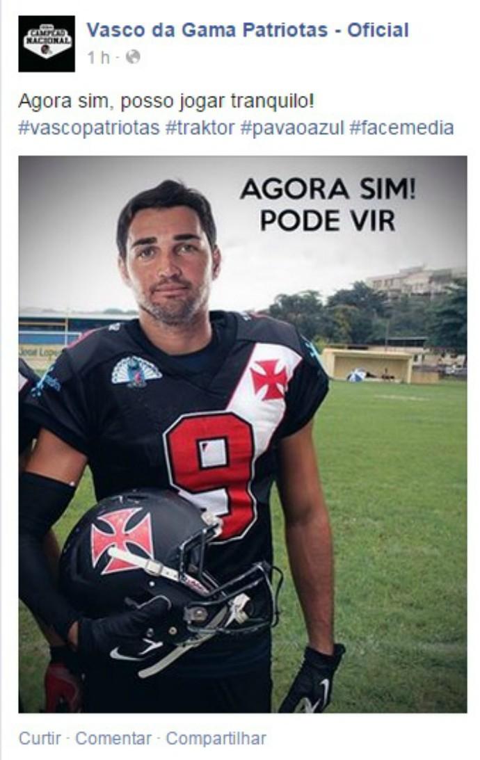 89e5fcc67c futebol americano  Vasco Patriotas  Gilberto (Foto  Reprodução   Facebook)