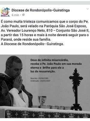 Diocese fez postagem lamentando a morte do padre e comunicando horário do velório (Foto: Reprodução/ Facebook)