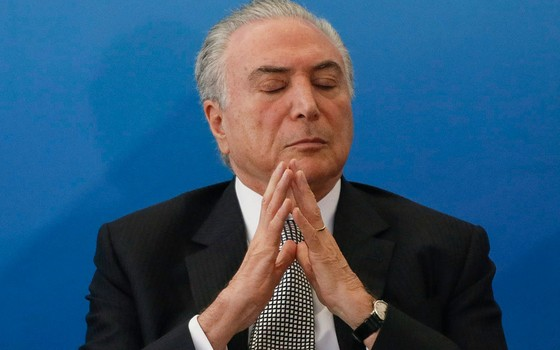 O presidente Michel Temer durante posse no ministro da Cultura, Sérgio Sá Leitão (Foto: André Coelho / Agência O Globo)