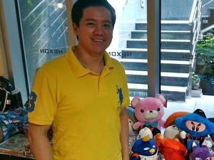 Jun-Woo Kim, gerente do grupo de licenças internacionais da Nexon, falou sobre os lançamentos da empresa ao G1 (Foto: Daniela Braun/G1)