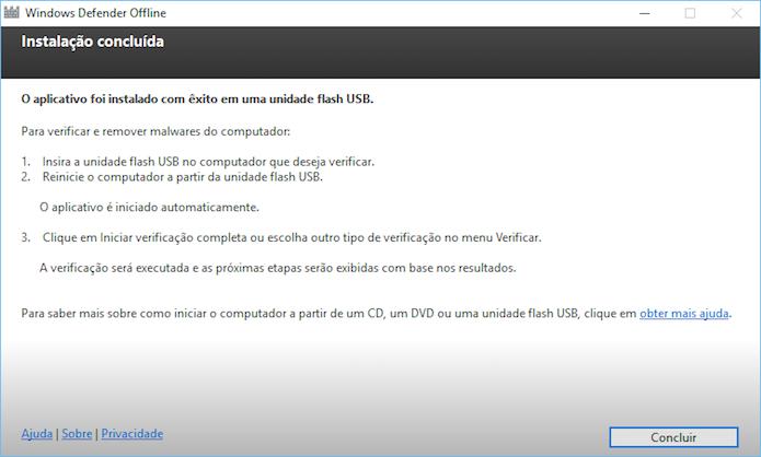 Finalizando instalação do Windows Defender Offline (Foto: Reprodução/Helito Bijora)