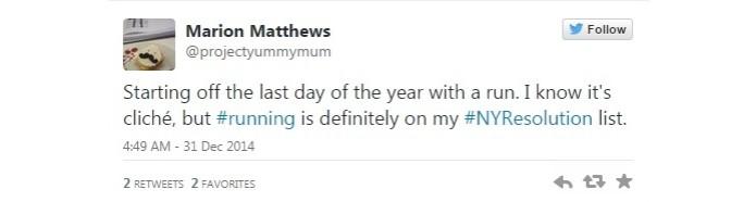 Usuário do Twitter promete começar a correr em 2015  (Foto: Reprodução/Twitter)