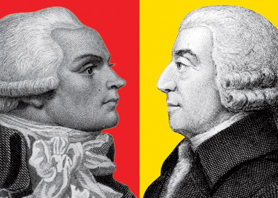 Maximilien Robespierre e Adam Smith (Foto: Hulton Archive/Getty Images)