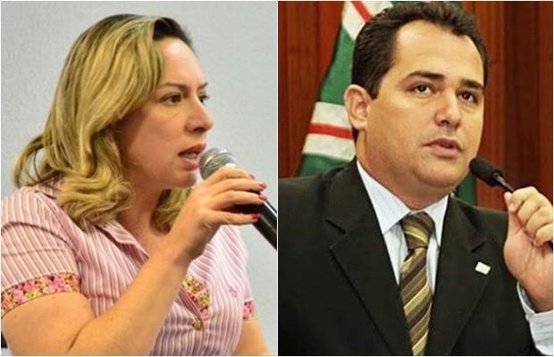 Candidata Adriana Accorsi (PT) e seu vice, Deivison Costa (PTdoB) (Foto: Montagem/G1)