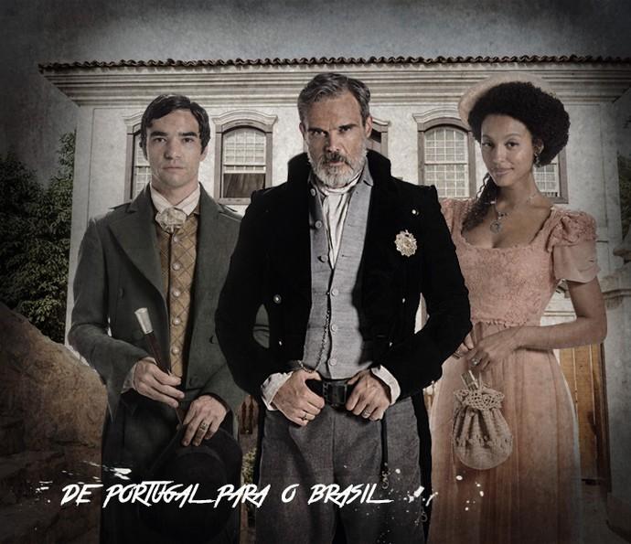 André, Raposo e Bertoleza  (Foto: Arte de Fabrício Bianchi em fotos de Felipe Monteiro/Gshow)