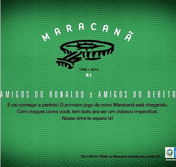 convite reabertura maracanã amigos de Bebeto e amigos de Ronaldo (Foto: Divulgação)