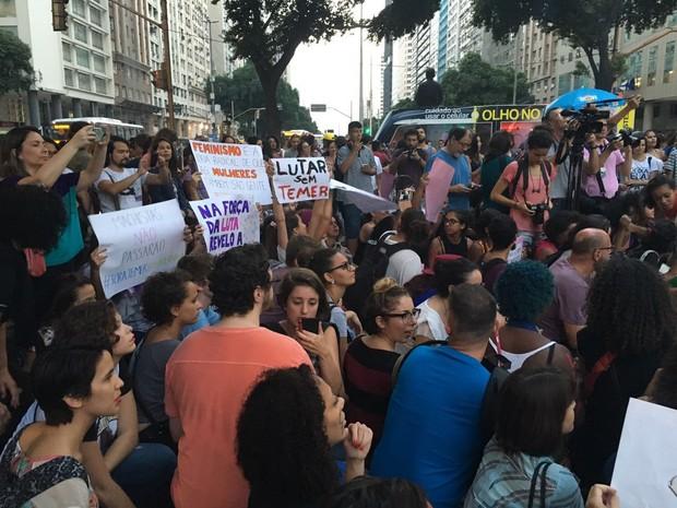 Ato contra o machismo no Centro do Rio (Foto: Ana Beatriz Fernandes/Arquivo Pessoal)