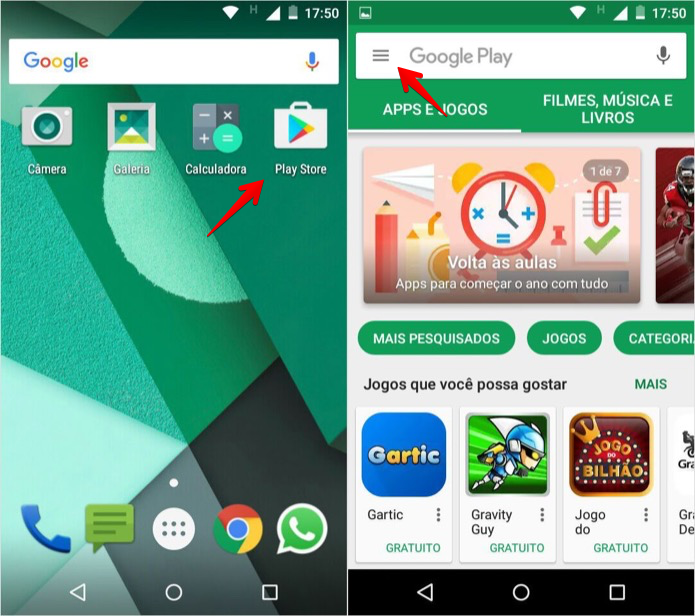 Acesse a loja de apps do Android (Foto: Reprodução/Helito Bijora)