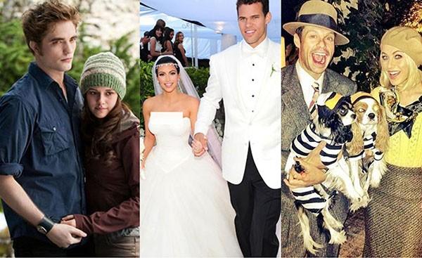 Kristen Stewart e Robert Pattinson, Kim Kardashian e Kris Humphres, Ryan Seacrest e Julianne Hough (Foto: Reprodução / Redes Sociais)