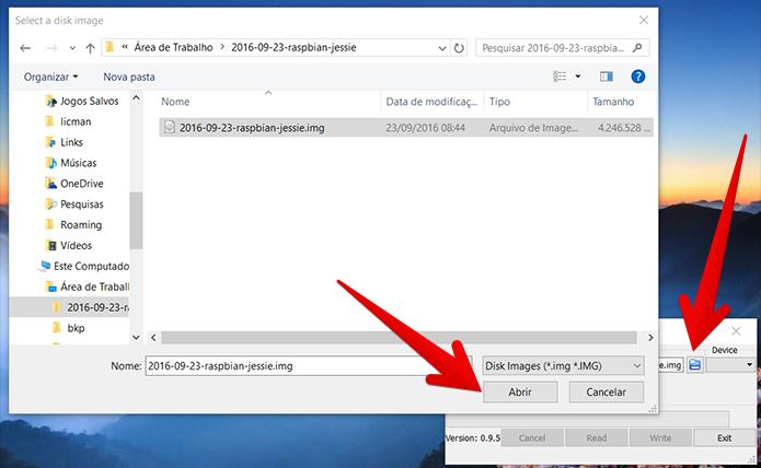 Abra a imagem do Raspbian no Win32DiskImager (Foto: Reprodução/Filipe Garrett)