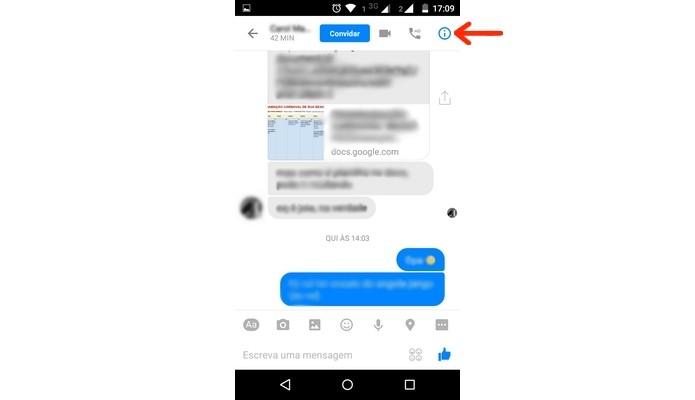 Destaque para ícone de informações do contato no Messenger (Foto: Reprodução/ Raquel Freire)
