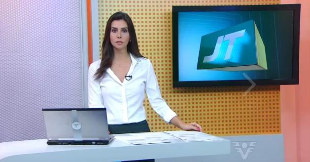 Tatyana Jorge no Jornal da Tribuna 1ª edição (Foto: Reprodução/TV Tribuna)