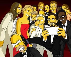 Paródia da 'selfie' do Oscar divulgada por criador de 'Simpsons'. (Foto: Reprodução/Twitter/@thesimpsons)