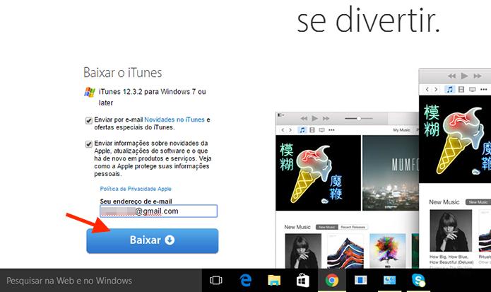 Iniciando o download do iTunes no Windows (Foto: Reprodução/Marvin Costa)