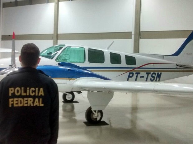 Avião apreendido em Campo Grande em operação da PF (Foto: PF/ Divulgação)