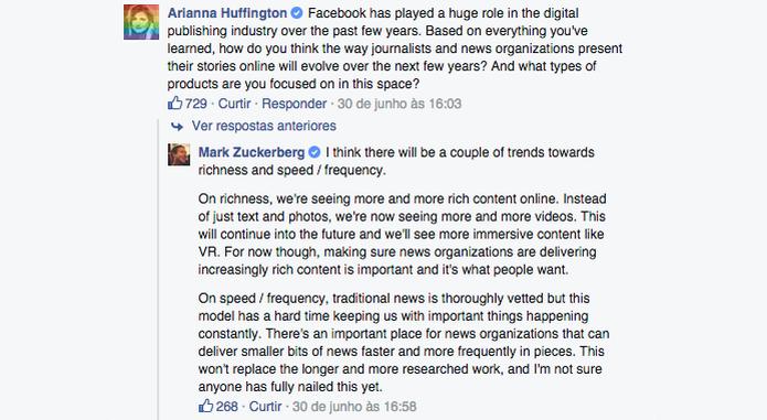 Para Zuckerberg, deve haver organizações de mídia tradicionais lado a lado a modelos mais ágeis de entregar notícia (Foto: Reprodução/Paulo Alves)