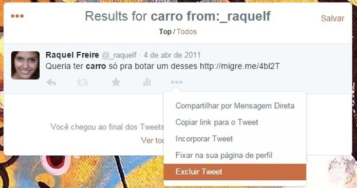 Caminho para apagar tuíte localizado com busca avançada (Foto: Reprodução/ Raquel Freire)