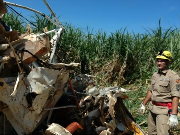 Avião agrícola caiu em canavial, na zona rural de Barro Alto, em Goiás (Foto: Divulgação/Corpo de Bombeiros)