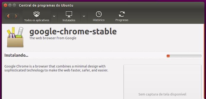Aguardando a conclusão da instalação do Google Chrome no Linux (Foto: Reprodução/Edivaldo Brito)