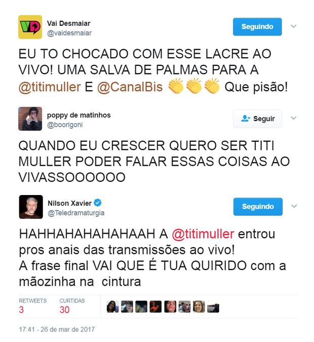 Comentários sobre fala de Titi Muller (Foto: Reprodução/Twitter)