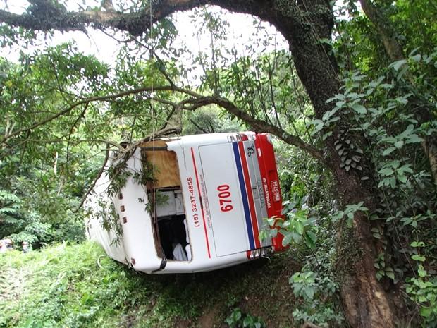 Ônibus caiu em área de mata na Serra do Mar (Foto: Roberto Strauss/G1)