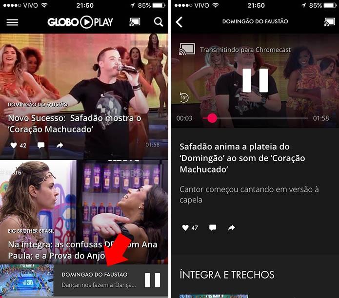 Navegue pelo app enquanto o vídeo aparece na TV (Foto: Reprodução/Paulo Alves)