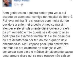 Mulher de rapaz ameaçado por médico fez postagem em rede social relatando o caso, Itororó, Bahia (Foto: Reprodução/ Facebook)