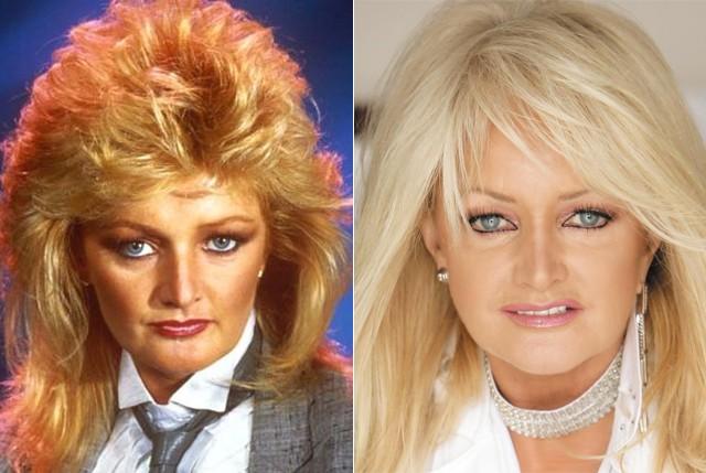 Bonnie Tyler nos anos 1980, à esquerda, e nos tempos atuais, à direita  (Foto: Reprodução)
