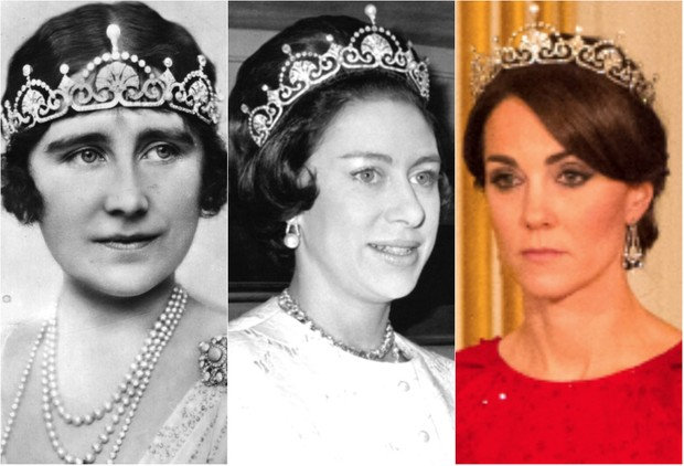 Elizabeth, Duquesa de York (mãe da Rainha Elizabeth II), Princesa Margaret e Kate Middleton, Duquesa de Cambridge (Foto: Getty Images)