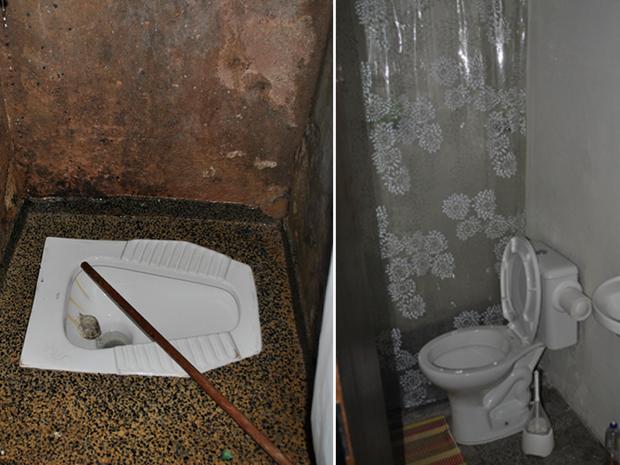Banheiro de ala de unidade da Papuda 'normal' (esquerda) comparado com banheiro na ala onde Luiz Estevão cumpre pena (direita) (Foto: Ministério Público do DF/Divulgação)