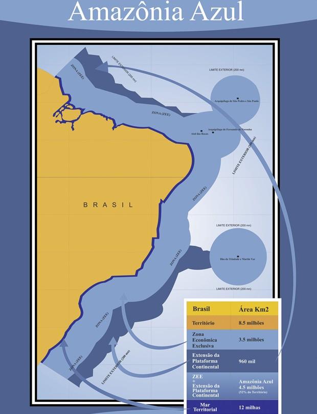 """A Marinha chama de """"Amazônia Azul"""" o mar territorial e a zona econômica exclusiva; veja no mapa a extensão da proteção do mar brasileiro (Foto: Marinha/divulgação)"""