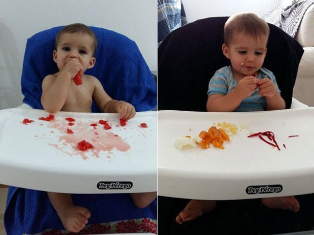 O bebê Bernardo, que desde os seis meses vem sido apresentado a alimentos saudáveis pela família em Brasília. experimentando melancia e vegetais (Foto: Marília Borges/Arquivo Pessoal)